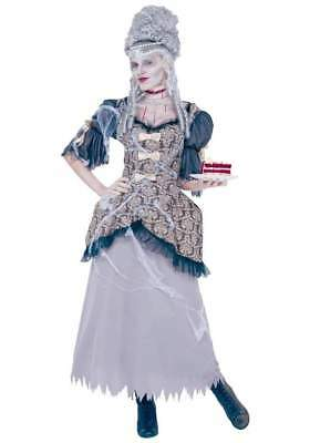 Ghostly Marie Antoinette 18th Century Gray/Br/Blk Tattered Look Gown & Accs. MD  (Halloween Costume 18th Century Dress)