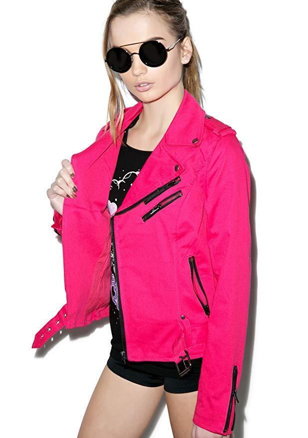 Tripp NYC Goth Punk Rocker Wild Child Pink Biker Moto Emo Zipper Jacket IS9125 Clothing, Shoes & Accessories