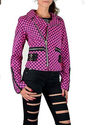 Tripp NYC D-Ring Moto Black Pink Check Punk Rockabilly Ska Gothic Biker BD3243P Clothing, Shoes & Accessories
