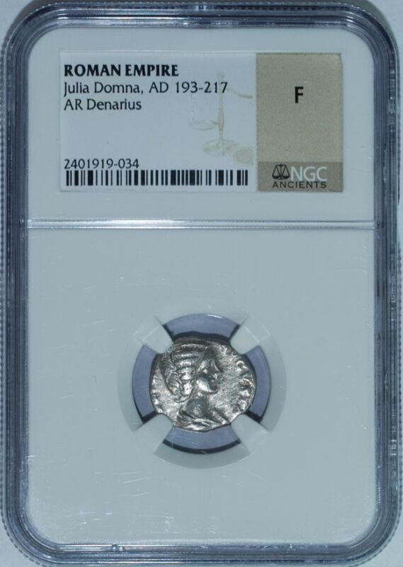 193-217 AD NGC Fine Roman Empire AR Denarius Julia Domna