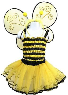 Toddler Yellow Bee Girl's Dress-Up Costume Wing & Tutu Set 4 Piece  (Bee Wings)