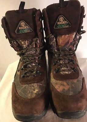 Hunter Boots Aqua (Youth Boy's Rocky Waterproof Aqua Guard Pro Hunter Hiking Ankle Boots-Camo-6)