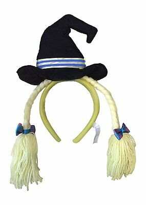 Wicked Witch Halloween Hat Headwear Headband with Bows and Yarn Hair Yellow NEW](Witch Hat With Hair)