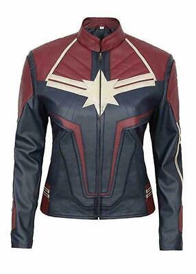 Women's Captain Marvel Brie Larson Marvel Costume Leather Jacket](Leather Jacket Costume)