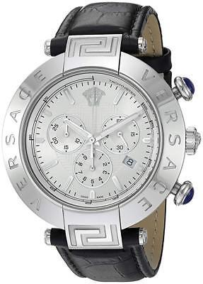 Versace Men's VQZ020015 'REVE CHRONO' Swiss Quartz Leather Black Watch