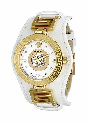 Versace Womens  Vla050014 V Signature Diamond Gold Ip Steel White Leather Watch