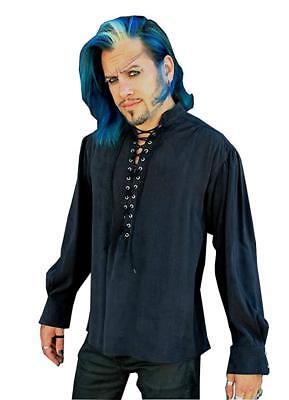 SHRINE MARQUIS BLACK GOTH VAMPIRE STEAMPUNK VICTORIAN PIRAT MEDIEVAL FAIR SHIRT Casual Button-Down Shirts