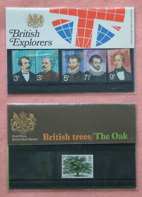 """2 British Post Office Mint Stamps - """"Explorers"""" and """"British Trees - The Oak"""""""
