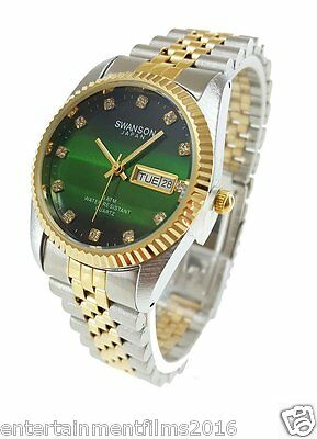 Swanson Japan Men's Gold-Plated and Stainless Steel Two-Tone  Watch Green Dial