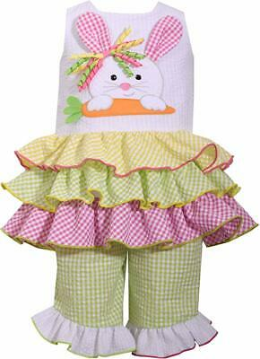 Bonnie Jean NWT Baby Toddler or Girls Easter Outfit Bunny Capri Set