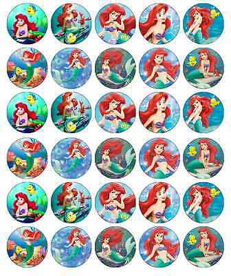 30x Little Mermaid Ariel Cupcake Toppers Edible Wafer Paper Fairy Cake Toppers