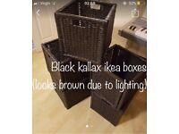 5 Black kallax branas Ikea wicker storage box basket