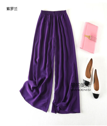65c434f918 Details about Occident Women 100% Mulberry Silk Wide Leg Pants Palazzo  Loose Trousers Hot 2019