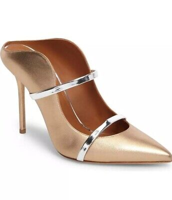 Malone Souliers Maureen Double Band Mule Gold Silver Size 37 EUR 7 US