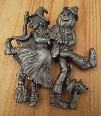 Halloween Witch & Pumpkin Scarecrow Dancing Signed Vintage Brooch Pin Pewter NEW