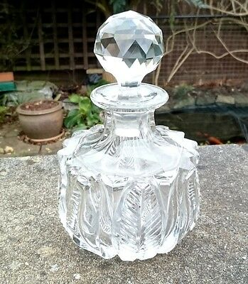 ANTIQUE VICTORIAN BOHEMIAN FRENCH BACCARAT CUT GLASS PERFUME SCENT BOTTLE