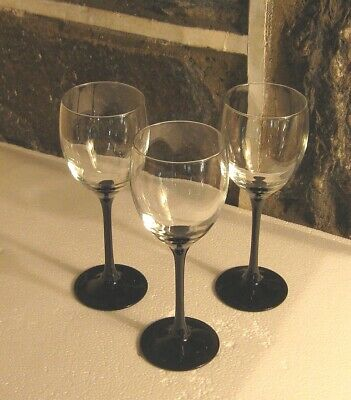Domino Wine glass Lot of  3 Black Ebony  stem to clear Free ship!! 8 oz style](Black Stem Wine Glass)