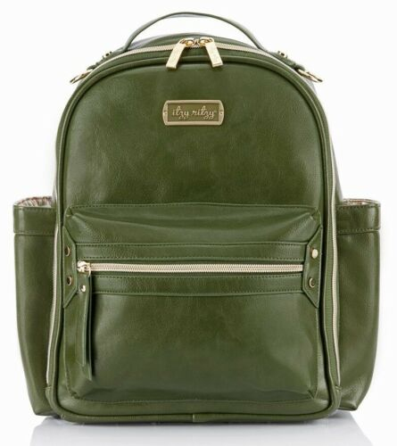 Itzy Ritzy Crew Mini Baby Diaper Bag Backpack Changing Pad Olive NEW