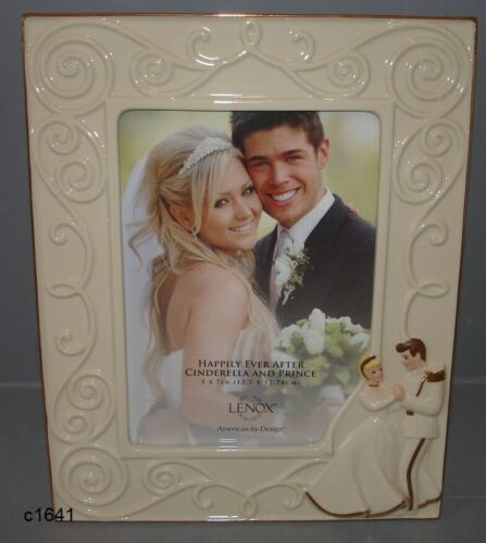Lenox Disney Cinderella & Prince Happily Ever After Wedding 5x7 Frame New in Box