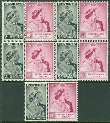 EDW1949SELL : SOLOMON ISLANDS 1949 Sc #82-83 Silver Wedding. 5 sets All VF MOGLH