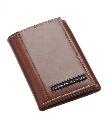 NEW TOMMY HILFIGER CAMBRIDGE TAN LEATHER CREDIT CARD CASE TRIFOLD MEN WALLET