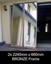 2/4x 2240 x 660 BRONZE Frame Wardrobe Mirror Sliding Doors+Tracks Penrith Penrith Area Preview