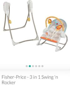 3 in 1 rocker, swing and seat comes with the original box