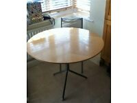 1m Diameter Round Table - Solid Wood with Screwed Metal Tripod Base - Very Sturdy & Modern