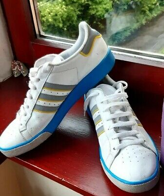 Mens Adidas Forest Hills White/Blue/Grey Leather Trainers Size UK11 EUR 46