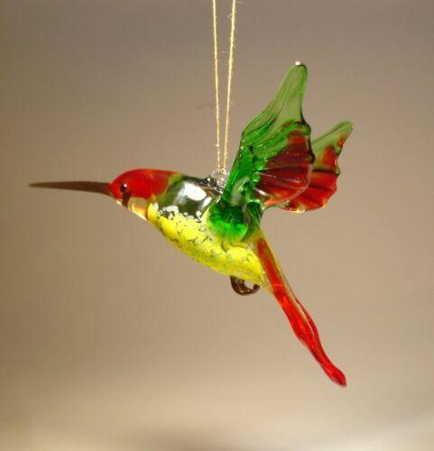 Blown Glass Figurine Bird Hanging Red and Green HUMMINGBIRD Ornament
