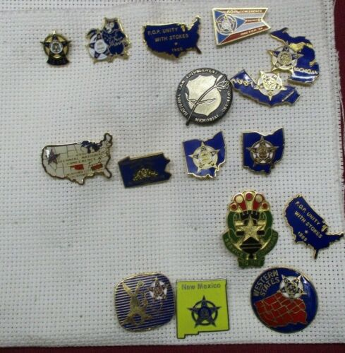 Vintage Lot of 16 FOP Police  LAPEL PINS