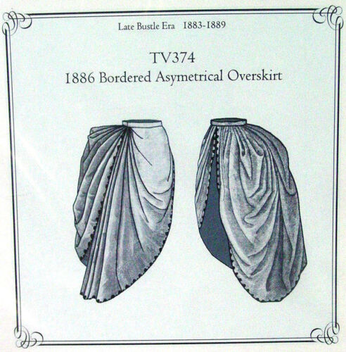 Bustle overskirt TV374 Sewing Pattern for 1886 Bordered Old West Style