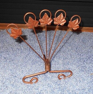 Maple Easels - Old Maple Leaf Greeting Card Holder Metal Copper Fall Leaves Easel Handmade
