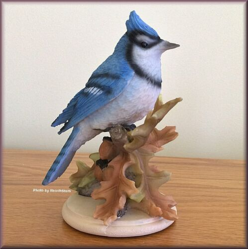 Bluejay on Oak Leaves Figurine by Stone Critters 5.75 Inches High Free U.S. Ship