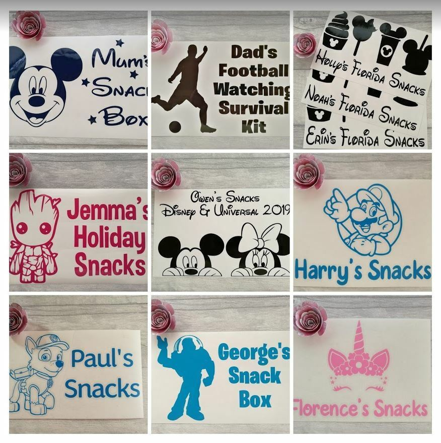 Home Decoration - Personalised Travel Holiday Vinyl Sticker Decal DIY Snack Box SW Diet Treat Box