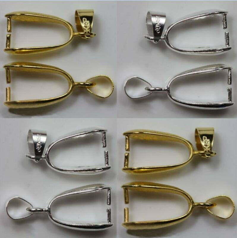 20pcs DIY Bale Pinch Clasp Gold Silver Findings Bail Connector Pendants