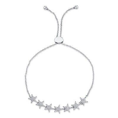 Estrella Diamante Bolo Pulsera 14K Oro Blanco Mujer Corte Redondo Natural Pavé