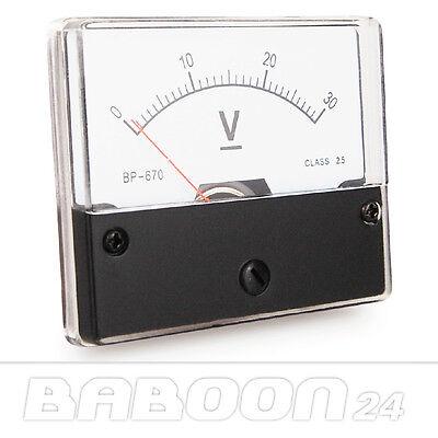 Einbau Messinstrument 0 - 30 V DC, Messgerät, Analog Voltmeter