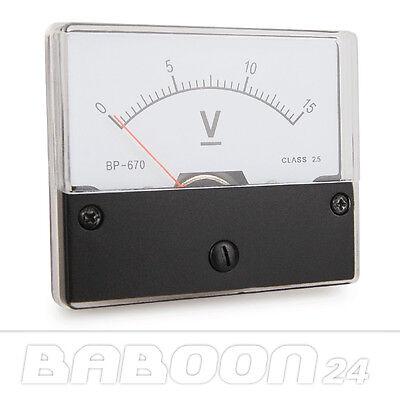 Einbau Messinstrument 0 - 15 V DC, Messgerät, Analog Voltmeter