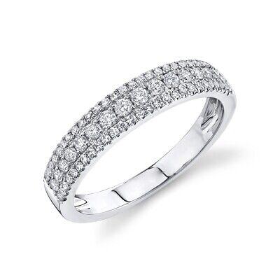 Mujer 14K Blanco Anillo Boda Diamante Oro Canal Banda Redondo 4MM Talla...