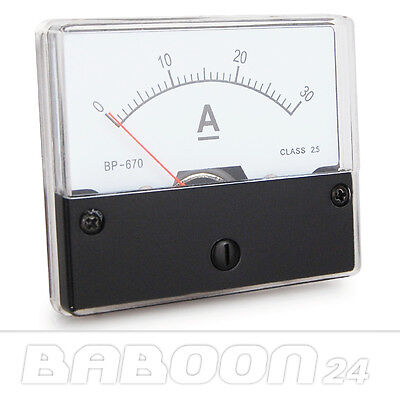 Einbau Messinstrument 0 - 30 A DC, Messgerät, Analog Amperemeter