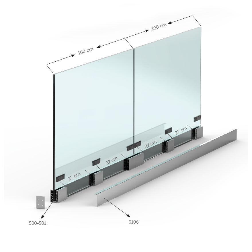 Ganzglasgeländer Bodenprofil Glasgeländer Balkongeländer Glas Alu A50 Bausatz