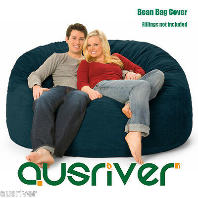 Navy Suede D150cm Large Bean Bag Cover Luxury Reading Relaxing Movie Couch Gift - Navy Bean Bag