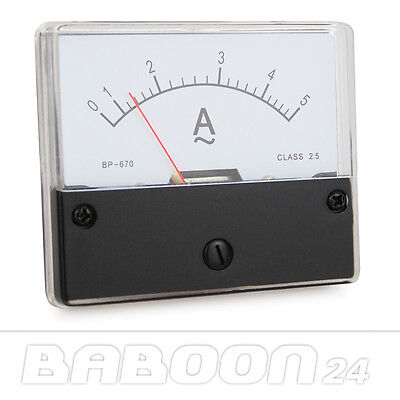 Messinstrument 0 - 5 A AC zum Einbau, Einbaumessinstrument, Analog Amperemeter