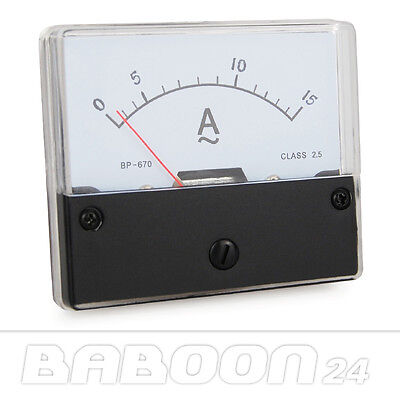 Messinstrument 0 - 15 A AC zum Einbau, Einbaumessinstrument Analog Amperemeter