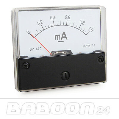 Messinstrument 0 - 1 mA DC zum Einbau, Einbaumessinstrument, Analog Amperemeter