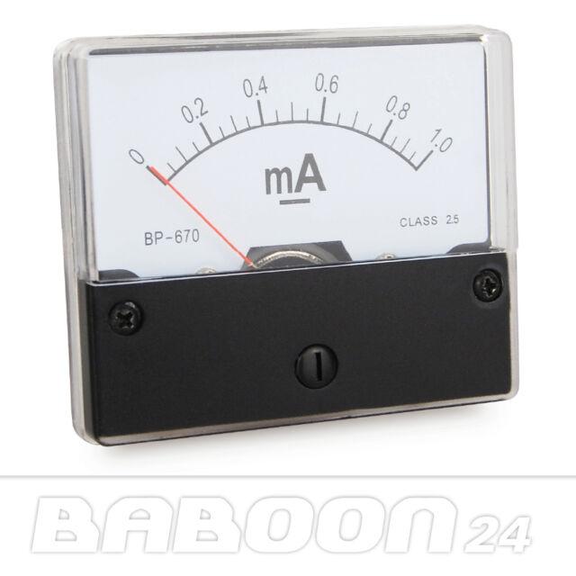 Messinstrument 0 - 1 mA DC zum Einbau, Einbaumessinstrument, Analog Amperemeter