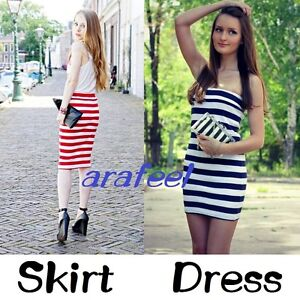 Stripe-white-TUBE-TOP-dress-BodyCon-LONG-SKIRT-marine-look-SAILOR-sexy-hot-beach