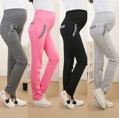 Cotton High Waist Maternity Pregnancy Pants Casual Trousers Leggings Full Length