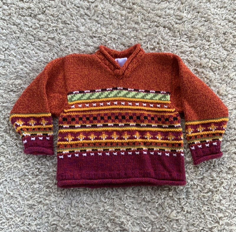 Hanna Andersson Multicolor Knit Sweater Roll Neck Pullover Girl